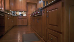 close up of modern wooden kitchen cabinets