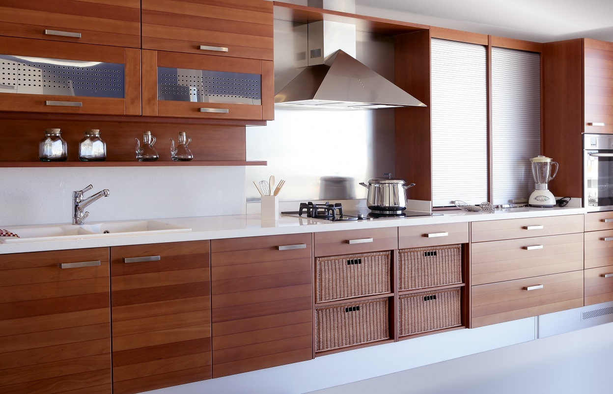 beautiful modern wood cabinets in kitchen