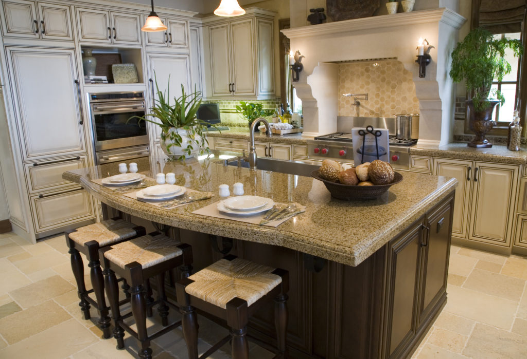 a beautifully maintained granite countertop in a kitchen